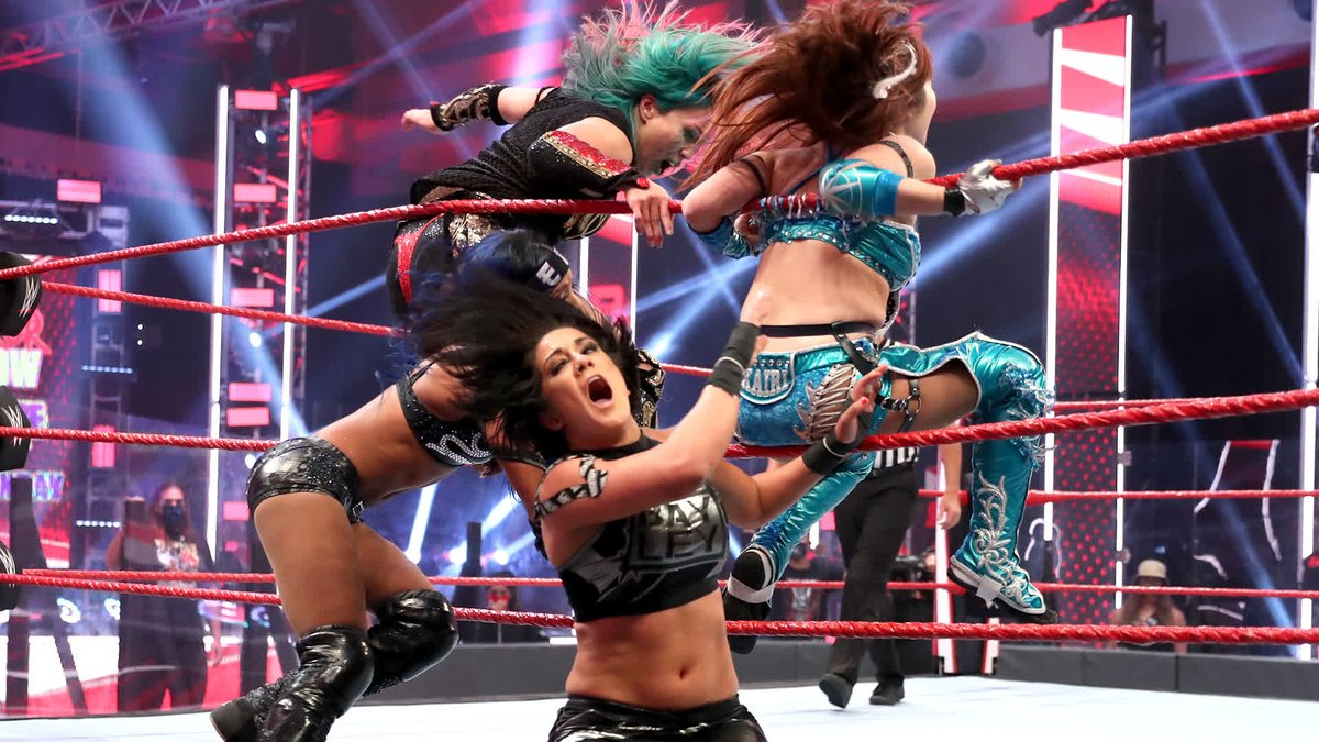 DING DONG!  @itsBayleyWWE & @SashaBanksWWE put the @WWE Women's #TagTeamTitles on the line against the #KabukiWarriors on #WWERaw! https://t.co/EoQvn7Dttc