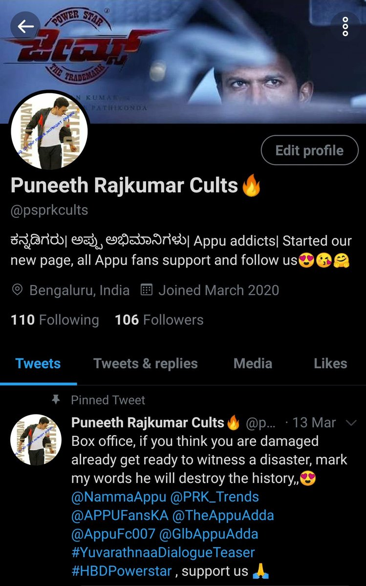 Thank you each and every cult of #Appu boss who has been with us so far,Reached our first 100 followers!  We are united here ,just bcoz of one man @PuneethRajkumar boss😍 keep supporting us🙏  We need to build our unity to new heights and build our active army for twitter trends.
