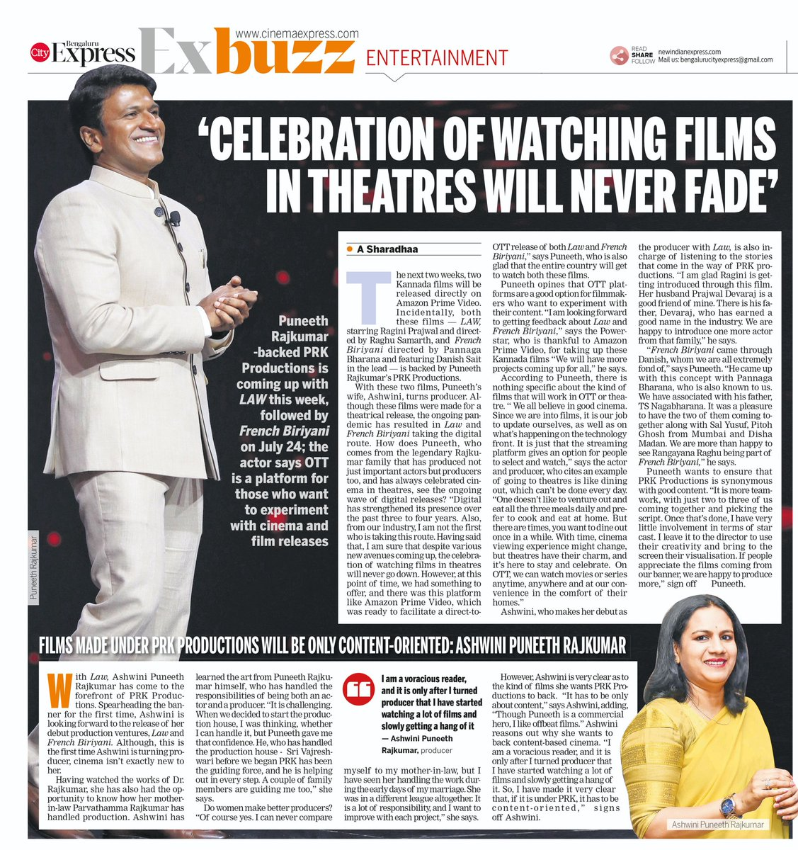 Celebration of watching #films in theatres will never fade: @PuneethRajkumar  Films made under @PRK_Productions will be only content-oriented: #ashwinipuneethrajkumar #Law #July17 #FrenchBiriyani #July24 on #OTT @PrimeVideoIN  via @XpressCinema @NamCinema