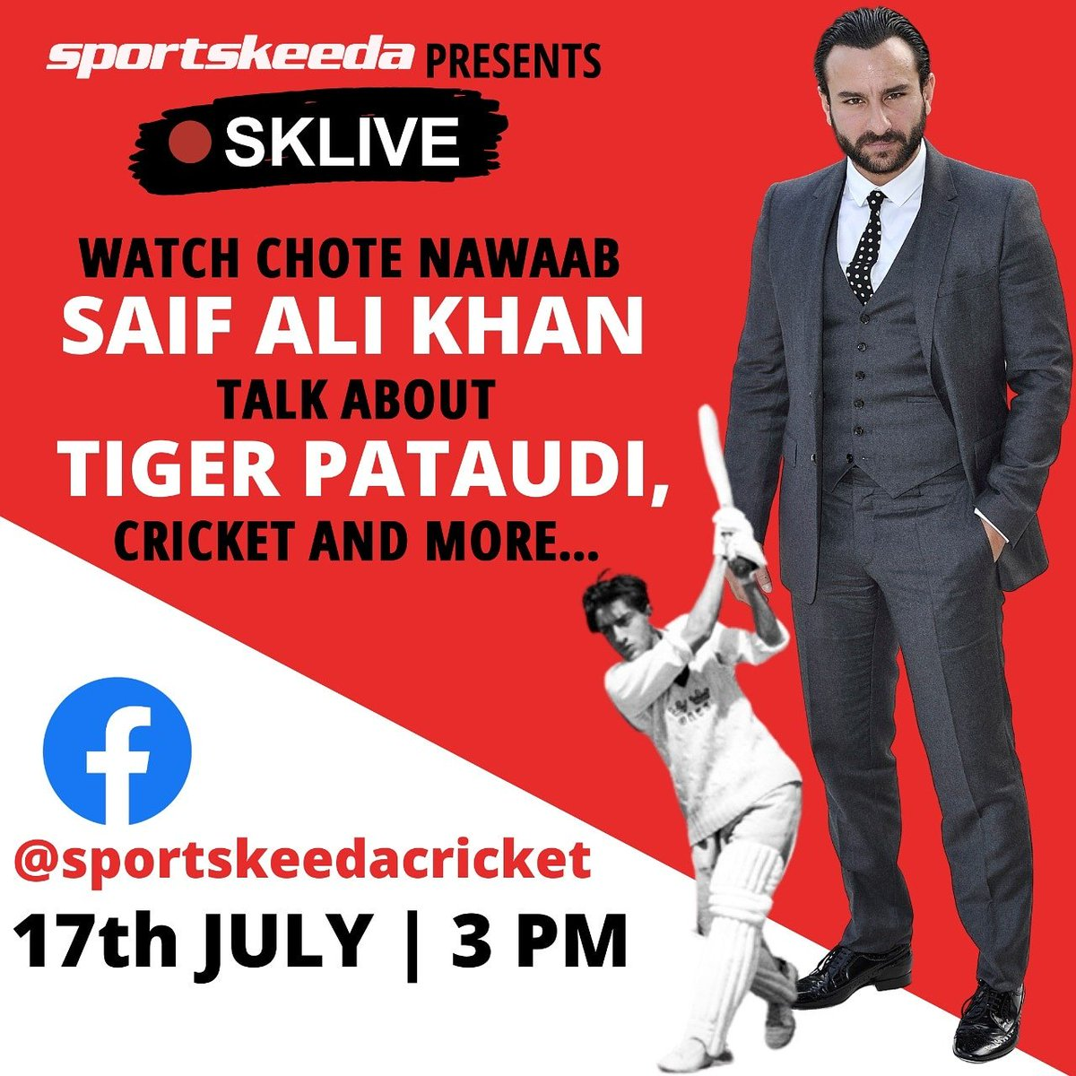 Tomorrow on #SKLive we have Saif Ali Khan  joining us for a conversation. 😬 Don't forget to tune in at 3 PM as we talk to chote nawab about Tiger Pataudi, Cricket and his love for sports! https://t.co/wDmA2Y3QTE