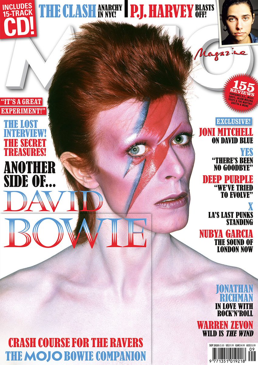 David Bowie featured in Mojo magazine (issue 322) September 2020. Also includes cover mounted CD 'Crash Course For The Ravers' containing Bowie-related wonders starring Brian Eno, Robert Fripp, Tony Visconti, Mick Ronson, Ian Hunter, Donny McCaslin, a Polish folk choir and more <br>http://pic.twitter.com/caXUV6Ttnt