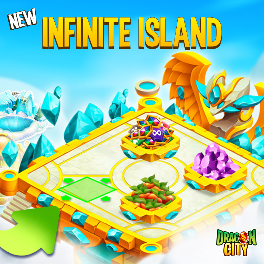 If you're looking for more space to place your Habitats and their scaley residents, a new premium Island has just landed in #DragonCity: it's the Infinite Island!  Together with the Island itself, you will receive lots of other goodies! #dragons #socialpoint #mobilegame pic.twitter.com/N9nOI6vw95