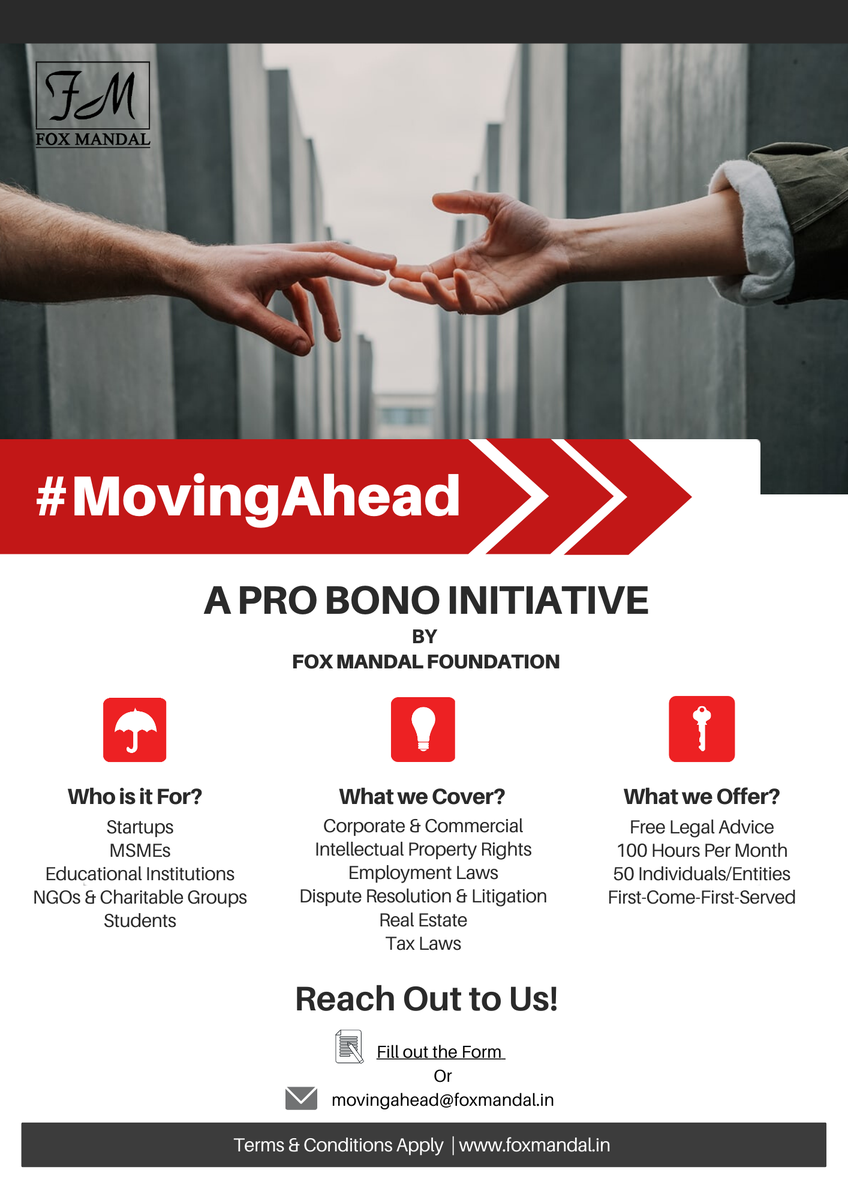 We are in the second month of our Pro-Bono initiative for startups and other entities who need legal support. Apply here: https://t.co/3y0apsxr2Z  #startups #entrepreneurs #founders #msmes #startup #initiative #forceforgood #FMUpdate #FoxMandal #ProBono #social #community #csr https://t.co/oYuyes2JHo