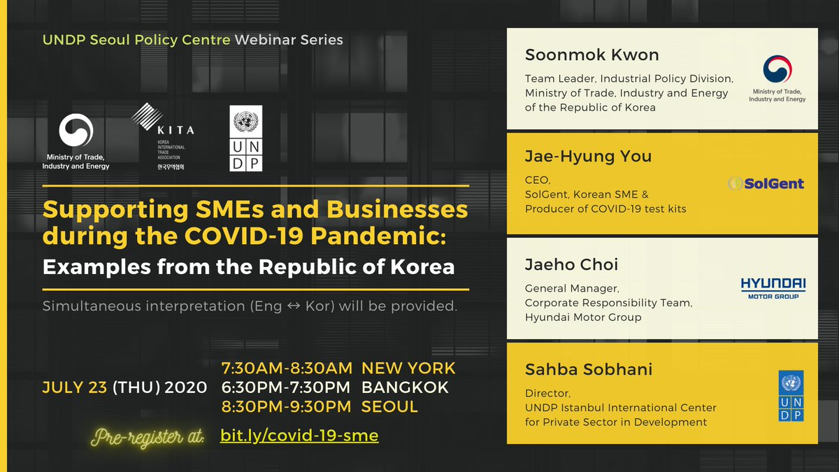 Register through ▶️ https://t.co/yQ4enJVMbw to learn from the Korean experience on how disruptions in traditional economic activity like #COVID19 could drive positive outcomes for small businesses, #MSMEs, #entrepreneurs https://t.co/1T7WL2WBob