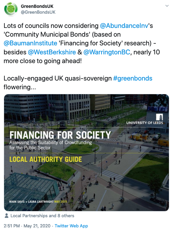 RT @GreenBondsUK Around 10 further councils - headed by @WarringtonBC - already lining up to follow @WestBerkshire into the new era of council funding: mobilising individuals' money with low-risk, locally-engaging @AbundanceInv #greenbonds...   'Ignite the green recovery by investing in councils' https://t.co/noYN8tP8U5