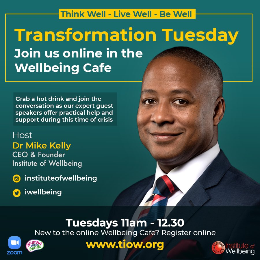 Book your seat from now in the #WellbeingCafe for #TransformationTuesday 21st July 11am. Bring your morning drink and listen to some real life conversations.   Enter Zoom via www.TIOW. org