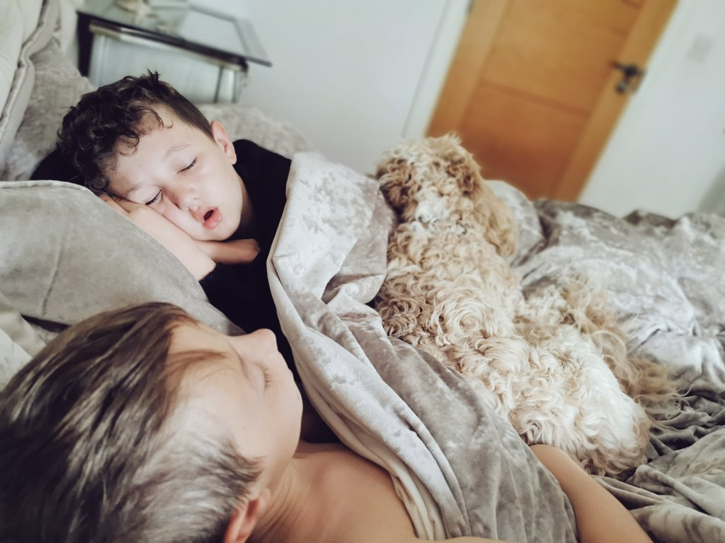Not sure what happened last night for me to end up with 2 kids and a  in bed with me #thursdaymorning #bedselfie #nosleep #lovethempic.twitter.com/wIedHzun4v