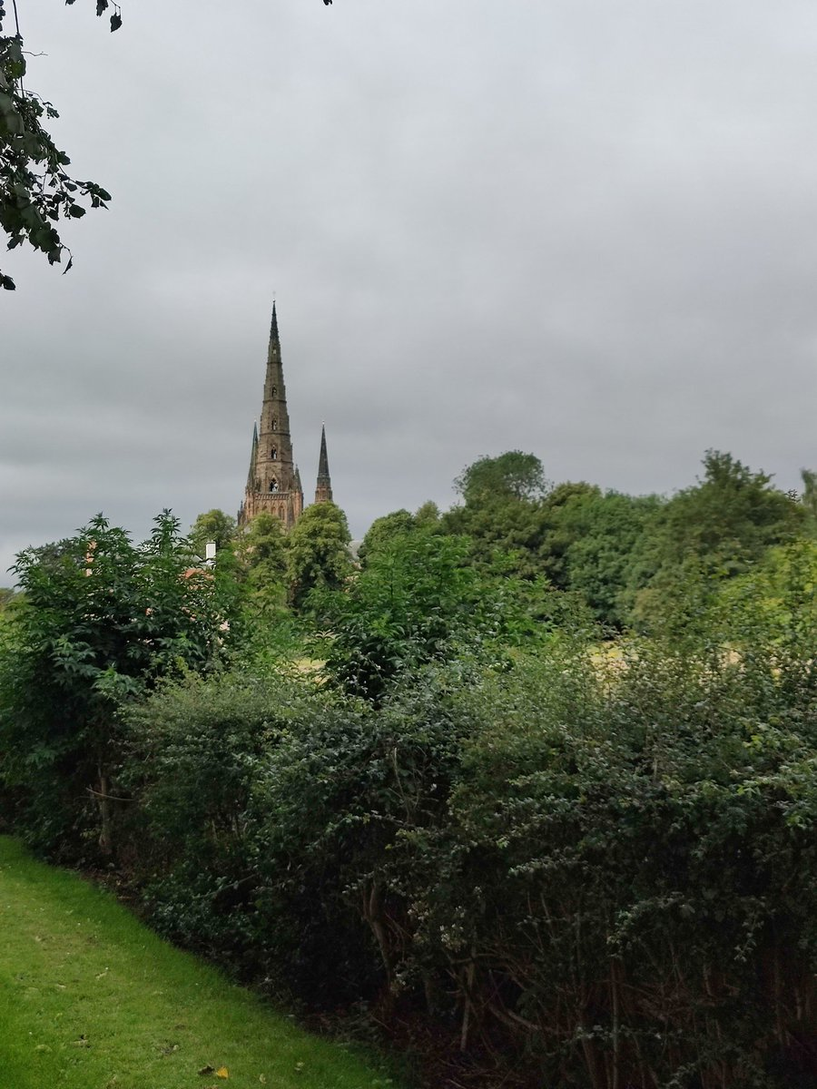 Another view of @LichfieldCath which, tree heights aside, has remained unchanged for centuries. Spending so much time in the archives with music lists and recordings recently has really brought it home to me that we are part of something so very many times bigger than today.<br>http://pic.twitter.com/WiXd2b89NF