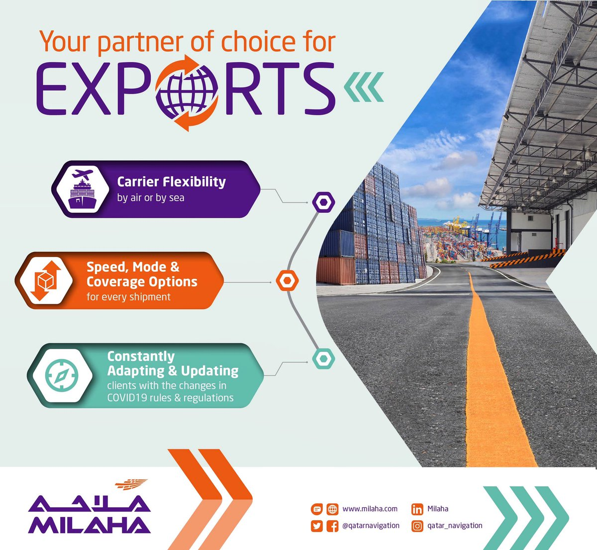 Your partner of choice for Exports. milaha.com شريكك المفضل للصادرات milaha.com #exports #exporter