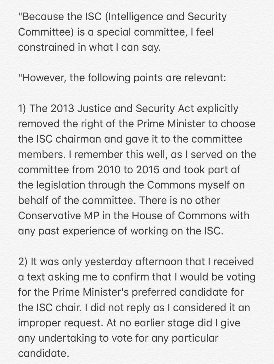 Julian Lewis statement via PA 1/ PM doesn't get to pick ISC chair 2/ He did not give undertaking to support Grayling 3/ Given Govt explicitly denied it was trying to parachute candidate in, it's 'strange' to have whip removed for failing to vote for 'preferred' candidate