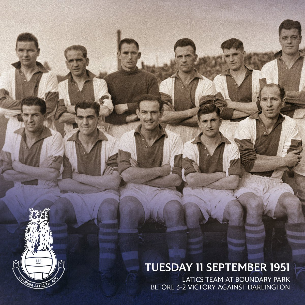 A #ThrowbackThursday for the 1951/52 Third Division North team, the season before winning the title.  Peter McKennan, John Warner, Fred Ogden, Sydney Goodfellow, Tommy Bell, Archibald Whyte.  James Munro, Willie Ormond, George Hardwick, Bobby McIlvenny, Eric Gemmell.  #oafc125<br>http://pic.twitter.com/7Py8H1G2jr