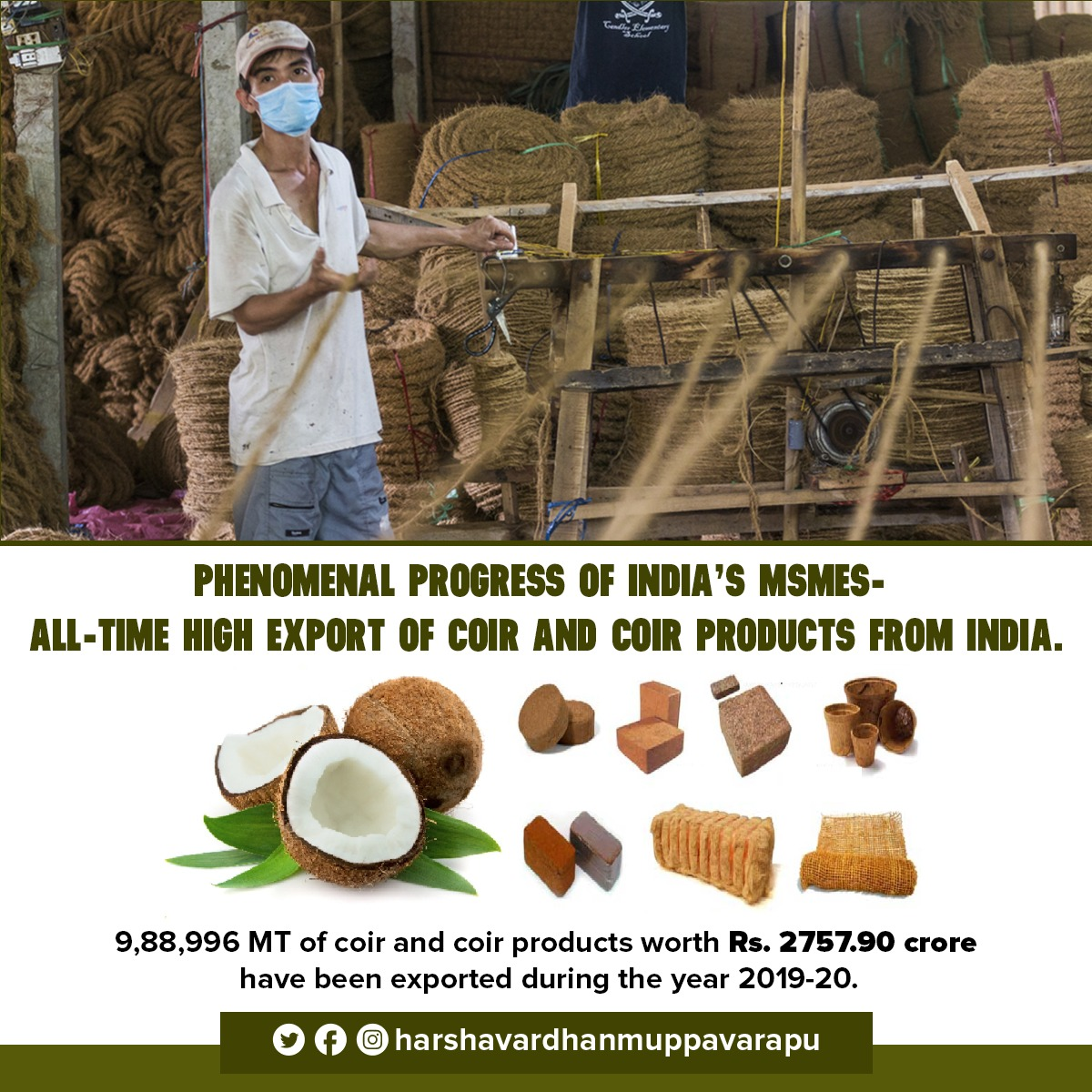 My hearty congratulations to the Coir and Coir products businesses of India in achieving an all-time high in exports.   Our Prime Minister's vision of achieving a 'Self Reliant India' by funding for MSMEs is helping us to attain phenomenal results. #Atmanirbharbharat #MSMEs https://t.co/1qJQS6xjiI