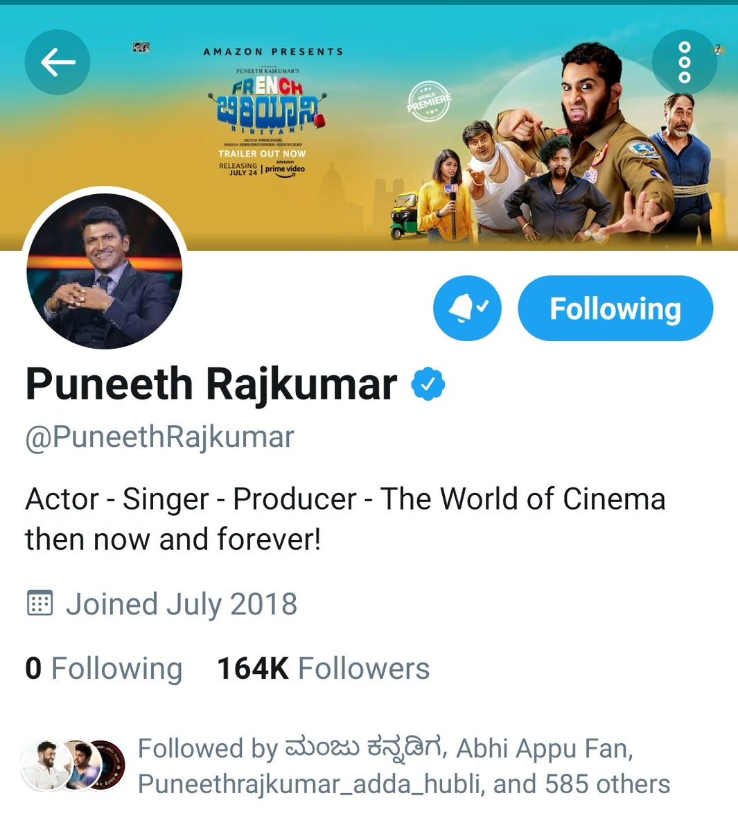 164k followers for #PowerStar @PuneethRajkumar 😎on #Twitter. Di follow if you have not followed right now... 👍🏼 Share his profile link to all!  #Yuvarathnaa #Appu #SpreadPowerism