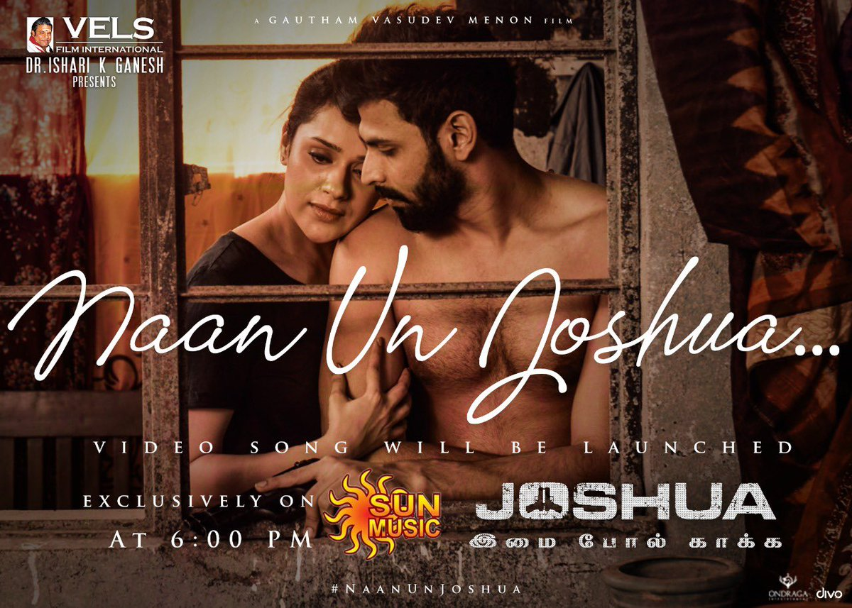 #NaanUnJoshua Video Song from  @menongautham's #JOSHUA will be launched exclusively on @SunMusic at 6:00 PM today with an Uber cool team interview   ➡ https://t.co/sZYCpsM5XO  @iamactorvarun @iamRaahei @singer_karthik @VigneshShivN @Actor_Krishna @editoranthony https://t.co/IYJoG5Zz41