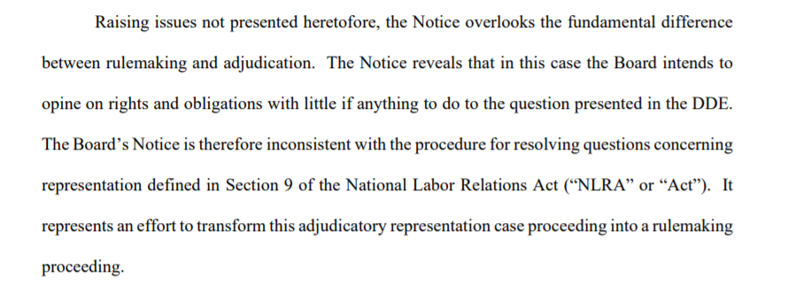 @JaneMayerNYer UPDATE: The union fighting Trumps megadonor just filed a motion to STOP Trumps labor board from reviewing a long-standing precedent that has shielded unions since the New Deal... ...arguing that the review goes so far beyond the scope of the dispute, it may violate labor law.