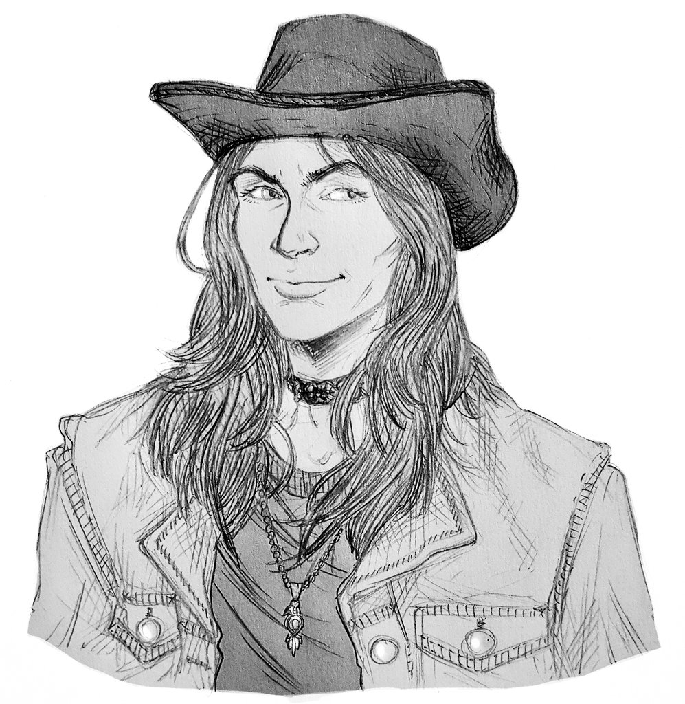 I drew my friend as the cowpoke she is because 1. Im an idiot, 2. Shes an idiot, 3. Big art block machine go brrrrrrrr