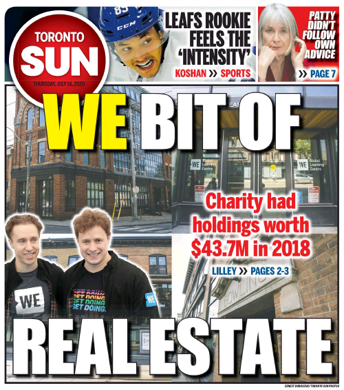 WE BIT OF REAL ESTATE: WE Charity listed real estate holdings worth $43.7M in 2018 https://t.co/dfUpSB7xuB Via @brianlilley. #cdnpoli https://t.co/SIBF9ZtN7g