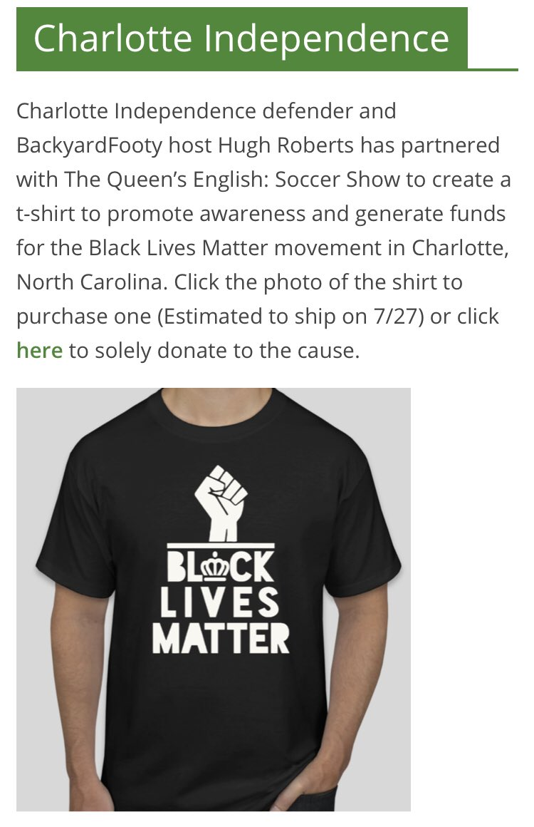 Our @Independence page now features the links to support our own @BackYardFooty host @hughrob13  & his collaboration with @thequeenspod for an important cause. Click on this link and you can either buy a shirt to donate or simply donate: https://t.co/uoQbIkcXE6 #BlackLivesMatter https://t.co/hGqeK9nWRF