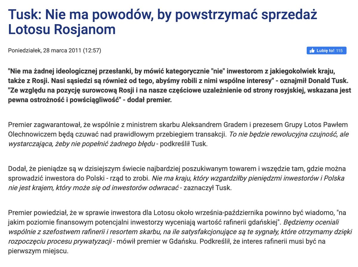 Dziś politycy @Platforma_org sprzeciwiają sie połączeniu Orlenu z Lotosem, gdy jeszcze w 2011 roku Donald Tusk nie widział nic złego w sprzedaży Lotosu Rosjanom.. twitter.com/aneczka07/stat…