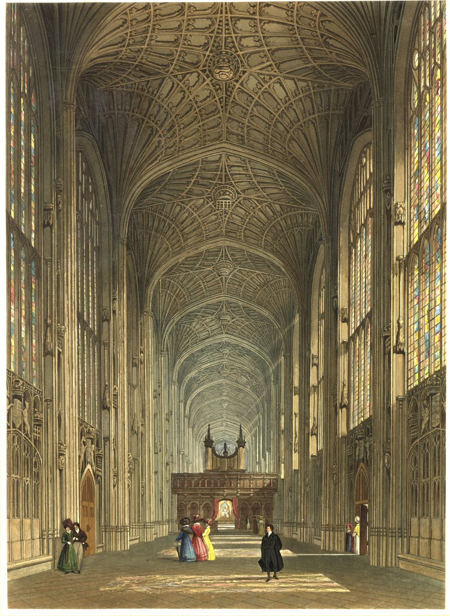 A rare coloured engraving of King's College Chapel: the view from the Ante-chapel looking through towards the east end.   It's from 1828 by C. Wild and is remarkably familiar for something nearly 200 years old.   Can you spot the key differences with today's view though?<br>http://pic.twitter.com/YtdHEvytyb