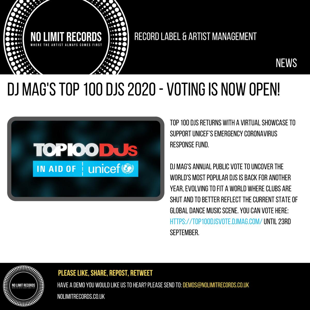 DJ Mag's TOP 100 DJS 2020 - VOTING IS NOW OPEN!  You can vote here:  until 23rd September 🔊🔥🔥  @DJmag @UNICEF   #femaleproducerdjs #djlife #techouse #clubbing #rave #technoproducer #technoproducers #technoartist #ukhouseproducers #techhousemusic