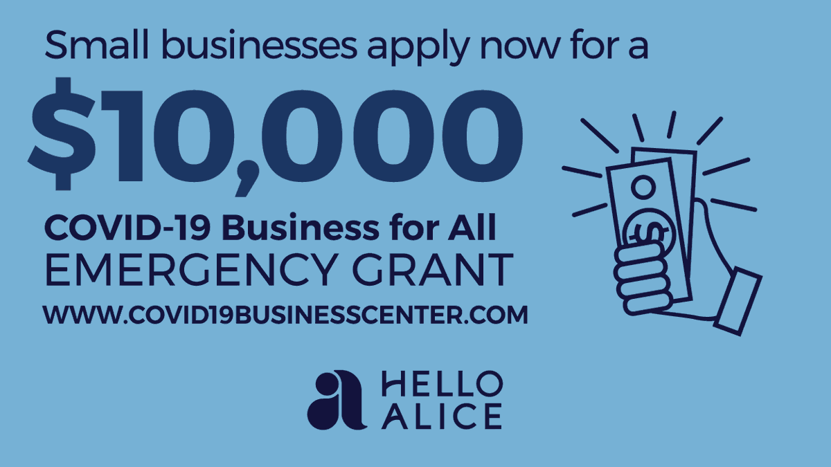 Check out @HelloAlice's Black-Owned Business Resource Center and apply today for the $10,000 #BusinessForAll COVID-19 grants specifically for Black business owners. (Deadline is today - 7/16) https://soty.link/Alice2pic.twitter.com/7UbsCB37Bc