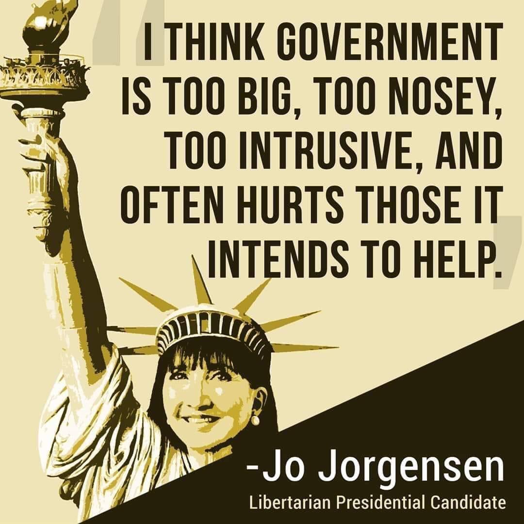 #VoteGold2020 #Libertarian #JoJorgensen2020 #JoJo2020 #LetHerSpeak #freedom #VoteGold https://t.co/LQ3L4zNo9m