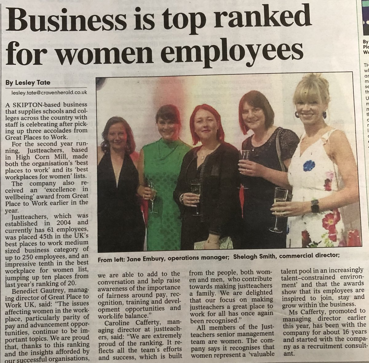 test Twitter Media - Thank you @CravenHerald for publishing the news of our @GPTW_UK award wins* #Bestworkplacesforwomen #bestworkplaces  *Photograph taken prior to lockdown https://t.co/nr2A7WragE