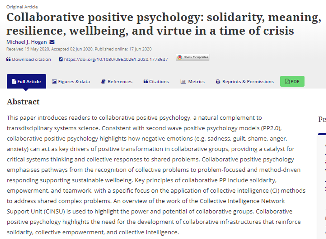 This new paper in the International Review of Psychiatry proposes a model for characterizing well-being that accounts for the #collaborative systems that interact with positive #psychology.   https://t.co/rgVjrvFxuY https://t.co/P9t3jTPQtH