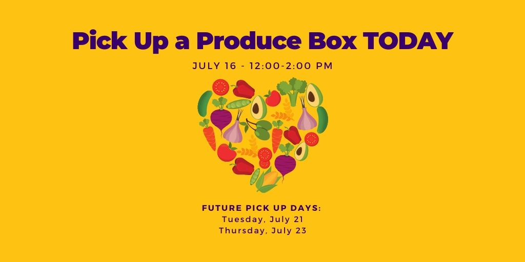 We are passing out produce boxes today from 12:00-2:00 PM at 613 Tenth Street, while supplies last.