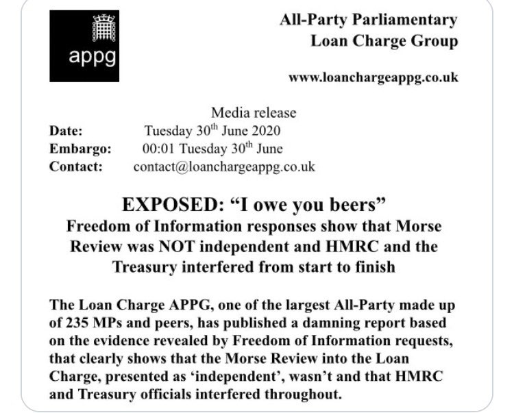@telegraph @cbcnews Recently the All-Party Loan Charge Group of MP's concluded that the #LoanCharge inquiry was rigged, this shows both the Treasury & HMRC directly interfered and prejudiced the outcome. 7 lives lost, others will follow and you are silent, when will you act?