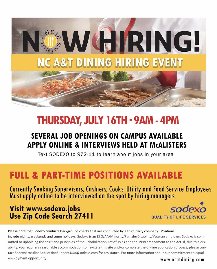 Our team is conducting interviews today until 4PM  at our Hiring Event at #Ncat McAlister's for fall openings. Online applications required >  http:// sodexo.jobs    . #JoinOurTeam #NcatDining<br>http://pic.twitter.com/6KDwXQO2UH