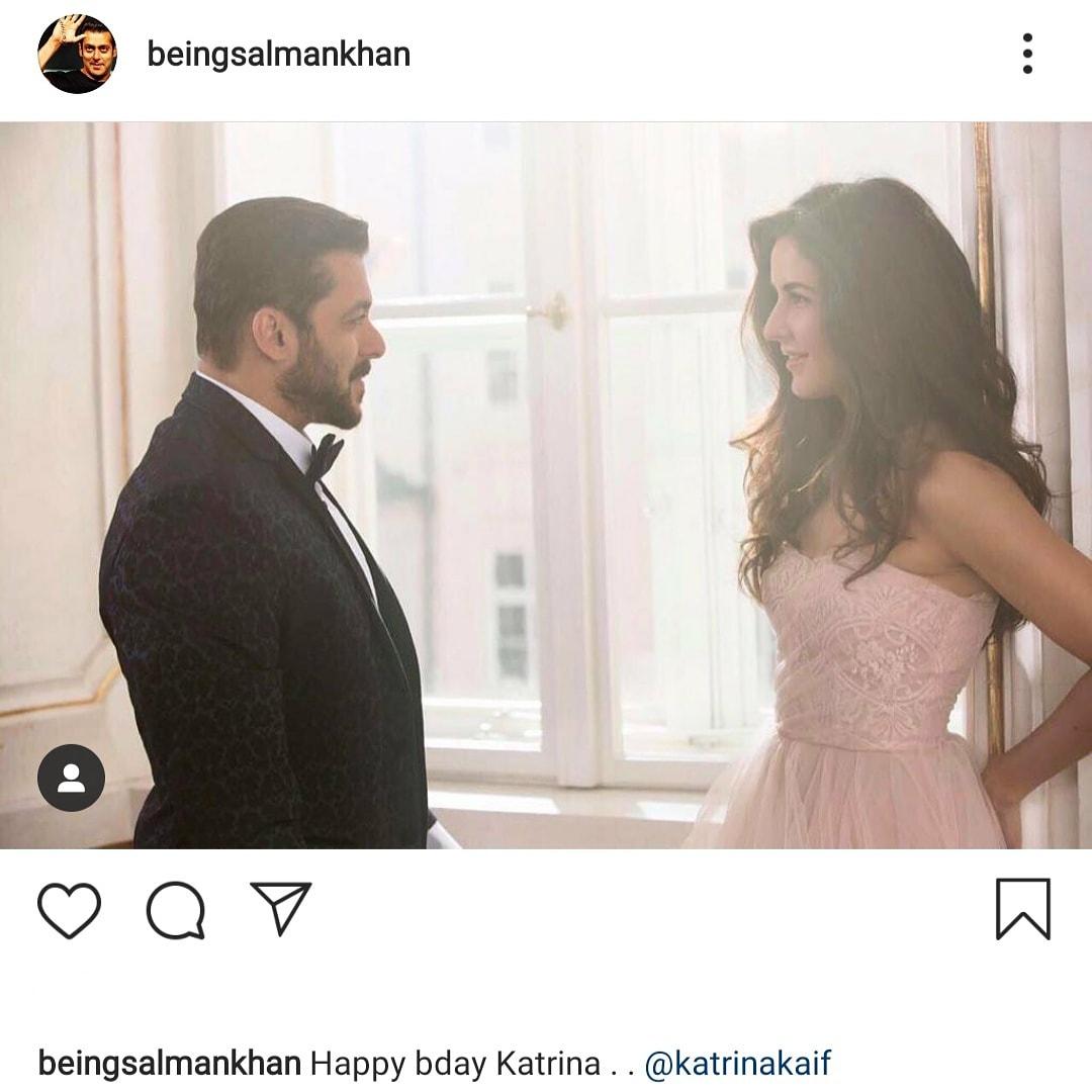 Salman Khan wishing Katrina Kaif Happy birthday by sharing this lovely picture 🥰🥰🥰 #bollywood #bollywoodactress #bollywoodcelebs #bollywoodstars #celebrity #bollywoodactor #SalmanKhan #KatrinaKaif #HappyBirthdayKatrinaKaif