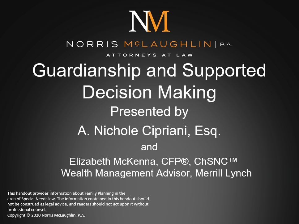 If you missed yesterday's Special Needs Spotlight Series webinar, you can now watch it from our recorded webinars page to learn more from our tax and estates attorney, Nichole Cipriani, and @MerrillLynch's Beth McKenna!  http:// ow.ly/axxT50AzC3z     #SpecialNeeds #Guardianship<br>http://pic.twitter.com/LuRnO8k7it