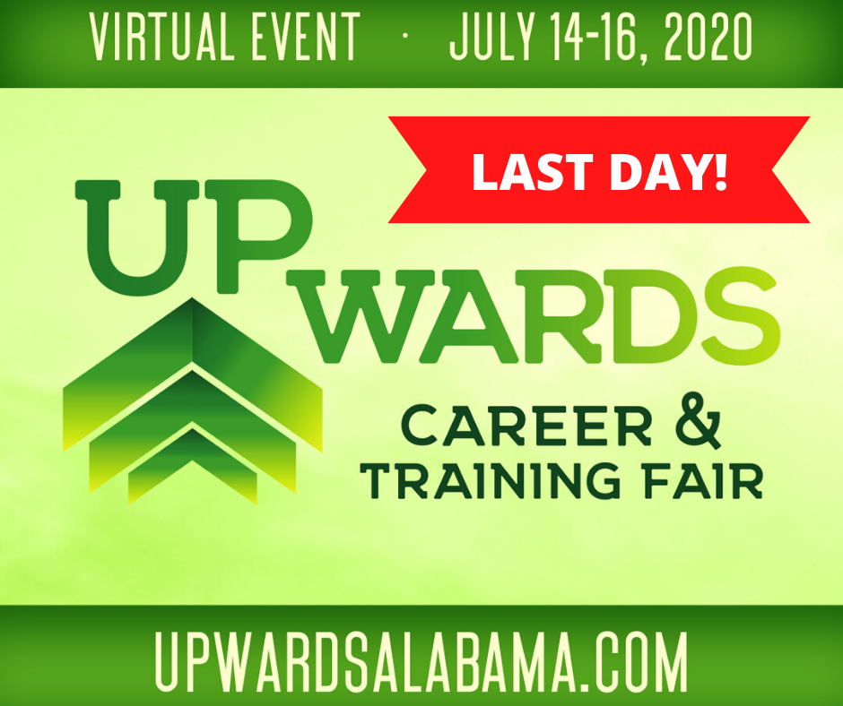 Today is the last day of the Upwards Career & Training Fair. Job seekers, there is still plenty of time to join the virtual fair and connect with employers. Visit https://t.co/jRxOrECvfj to get started.  #virtualcareerfair #jobseekers #northalabama https://t.co/expjlWD6ra