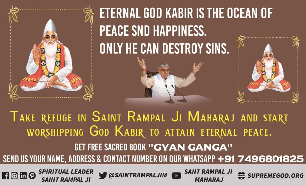 #GodKabir_OceanOfHappiness Eternal God Kabir provides oceans of peace and happiness by providing true way of worship. Must listen satsung at Sadhna channel from 7:30 - 8:30 pm. <br>http://pic.twitter.com/2zWOpXcyMw