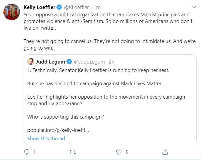 UPDATE: Senator Kelly Loeffler CONFIRMS that she is running a campaign against the Black Lives Matter movement  Current corporate supporters of this campaign include: @ATT, @Google, @Sony, @Target, @BestBuy, @FedEx, @kroger    https:// popular.info/p/kelly-loeffl er-is-running-against  … <br>http://pic.twitter.com/BGYRwAdhao