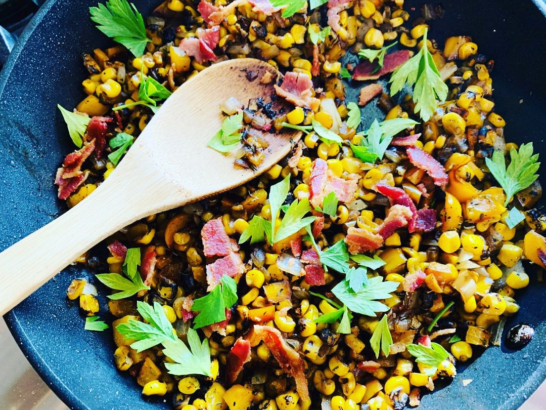Summer Succotash with Bacon! What a way to use our fresh summer corn!   #Recipe #Corn #SummertimeFood #Bacon