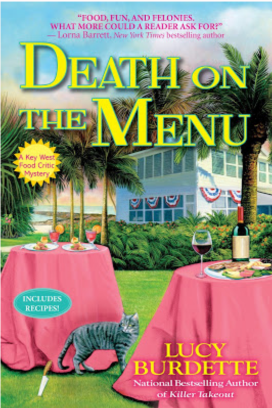 3 copies of DEATH ON THE MENU #book #giveaway + delicious lime cake #recipe. Win-win. From author @LucyBurdette on @mysterykitchen Go to the BLOG to enter:  #mystery #cozymystery #foodie