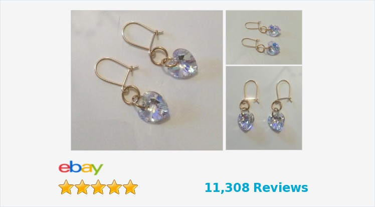 New 9ct Yellow Gold Swarovski Crystal AB 10mm Heart Drop Hook Earrings | eBay #9ct #gold #swarovski #crystal #hearts #earrings #drop #dangle #handmade #jewellery #gifts #giftideas #giftsforher #pretty #beauty #accessories #jewelrylover #jewelryaddict