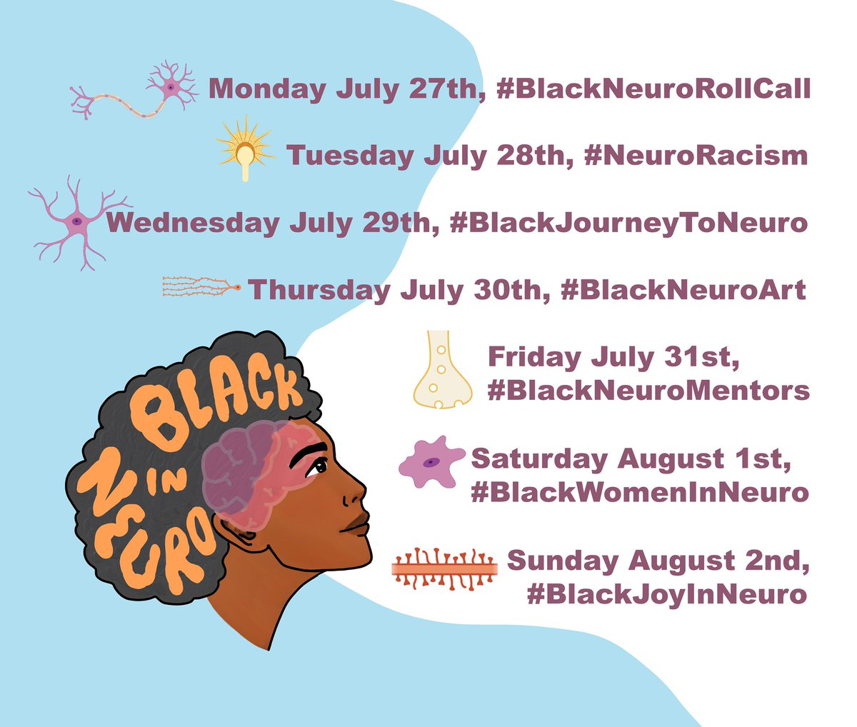 🗣🗣🗣  It's FINALLY here!   Check out the official #BlackInNeuroWeek schedule below.   More details coming soon 🧠✊🏾 https://t.co/wEfShFtyk4