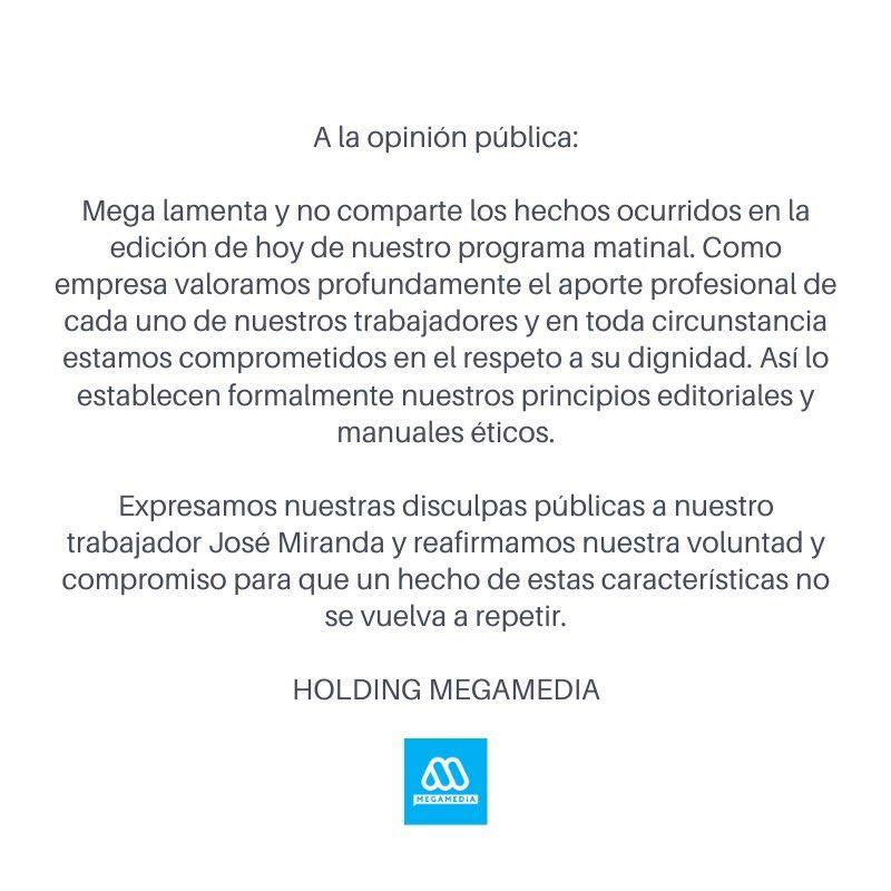 Bien @Mega al lamentar y tomar distancia del torpe e irrespetuoso gesto de J. M. Viñuela, que hoy cortó el pelo al camarógrafo José Miranda al aire, en medio de burlas, en pleno matinal. https://t.co/qYhpUv2htW