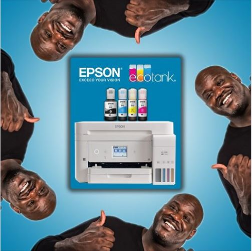 Four thumbs up 👍 for cartridge-free printing. 😍 #JustFillAndChill #EcoTank #Epson #Shaq Give us a call 888-895-5173