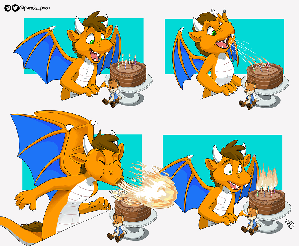 Huk the Dragon received a bday cake, he was told to make a wish and blow the candles Is it better luck to light the candles even more instead?  Birthday gift for my friend @Hukley_Hukley ! Who originally is a fox, and foxes are cute by default, but I'm loving his dragon character<br>http://pic.twitter.com/kztYgM47Nw