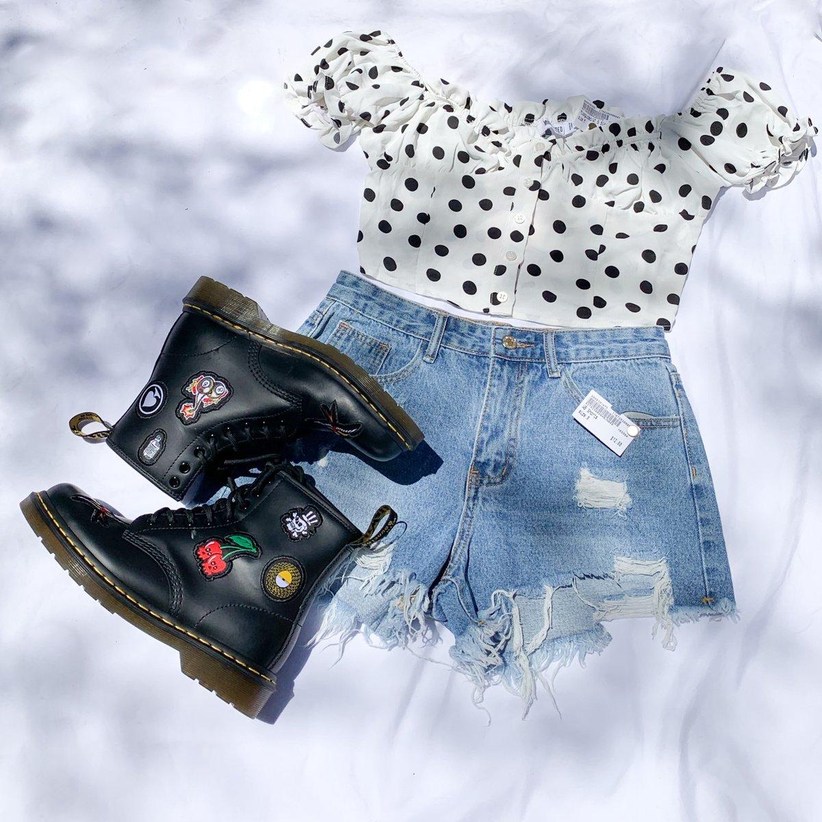 Polka Dot Cutie! 😍  Missguided Short Sleeve M $13  Women's Shorts Size 0 $12  Women's Dr. Martens Boots Size 7 $75   #platosclosettemecula #platoscloset #drmartens #missguided #ootd #thriftfinds #gentlyloved #murrieta #temecula #riverside
