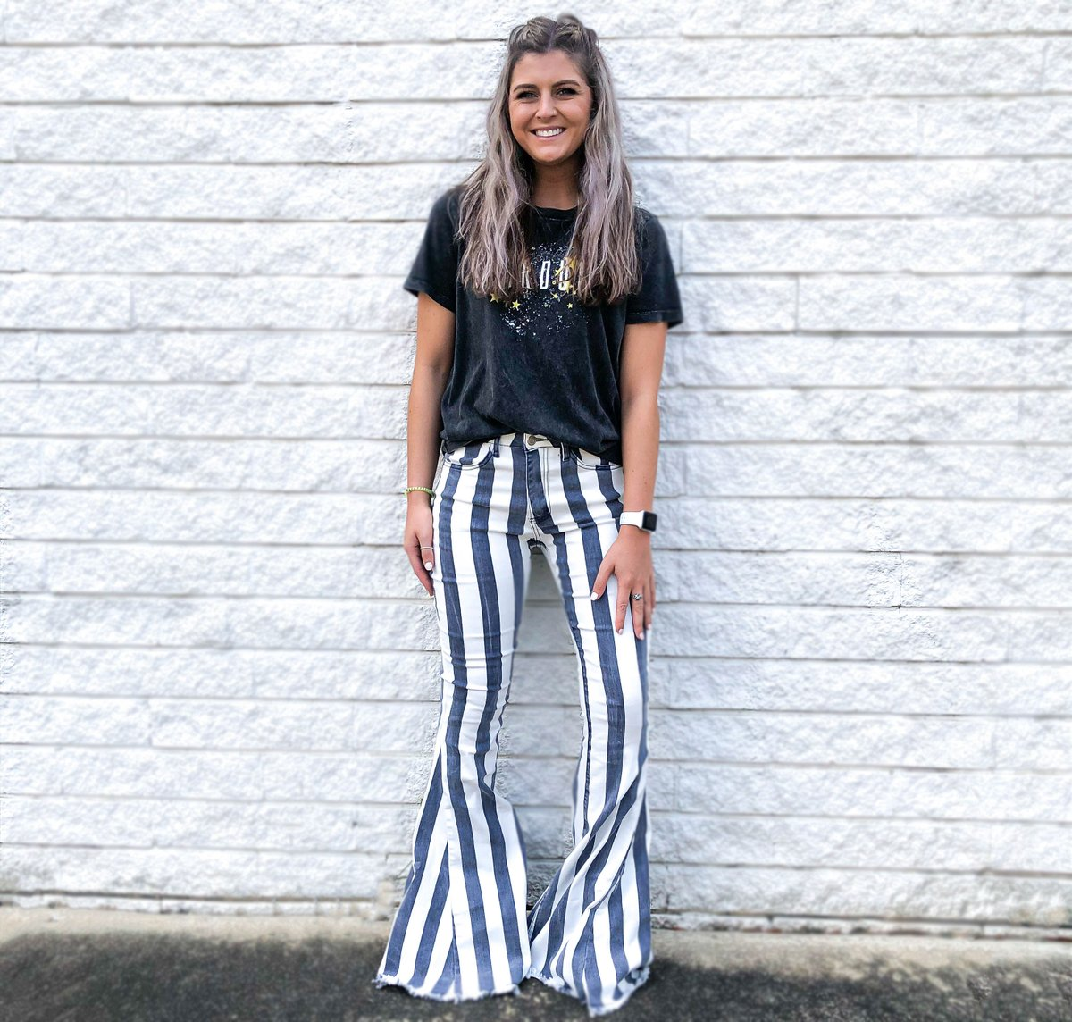 It's #ThrowbackThursday!! || These striped bell-bottoms are a BIG DEAL! || Snag yourself a pair before they're gone. #DFOStyle #FlareJeans #StripedBellBottoms #OOTD