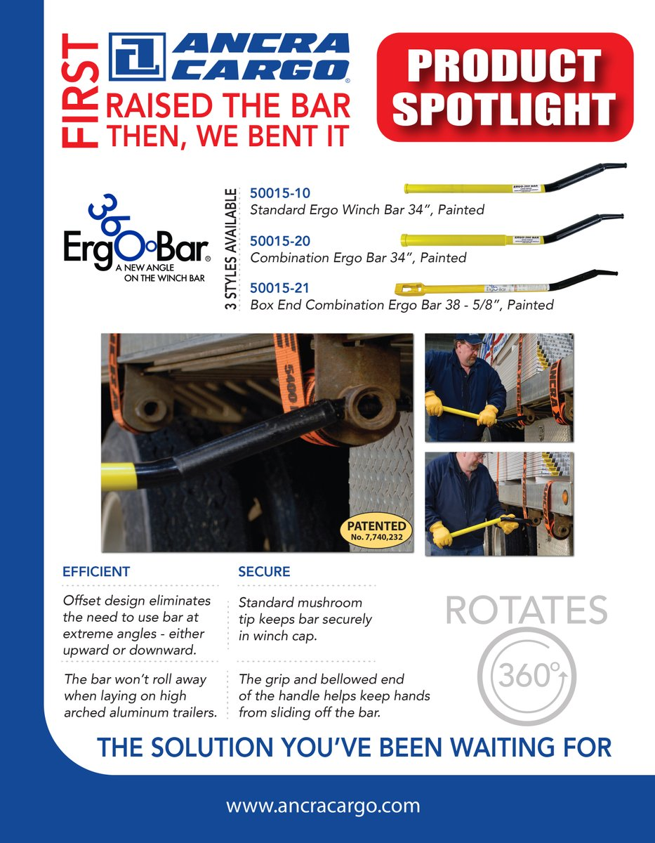 Product Spotlight! Ergo 360 Winch Bars. First, Ancra raised the bar.. then, we bent it!  Watch short video: https://t.co/kIAGHSi9ch https://t.co/VjOLuclVTd