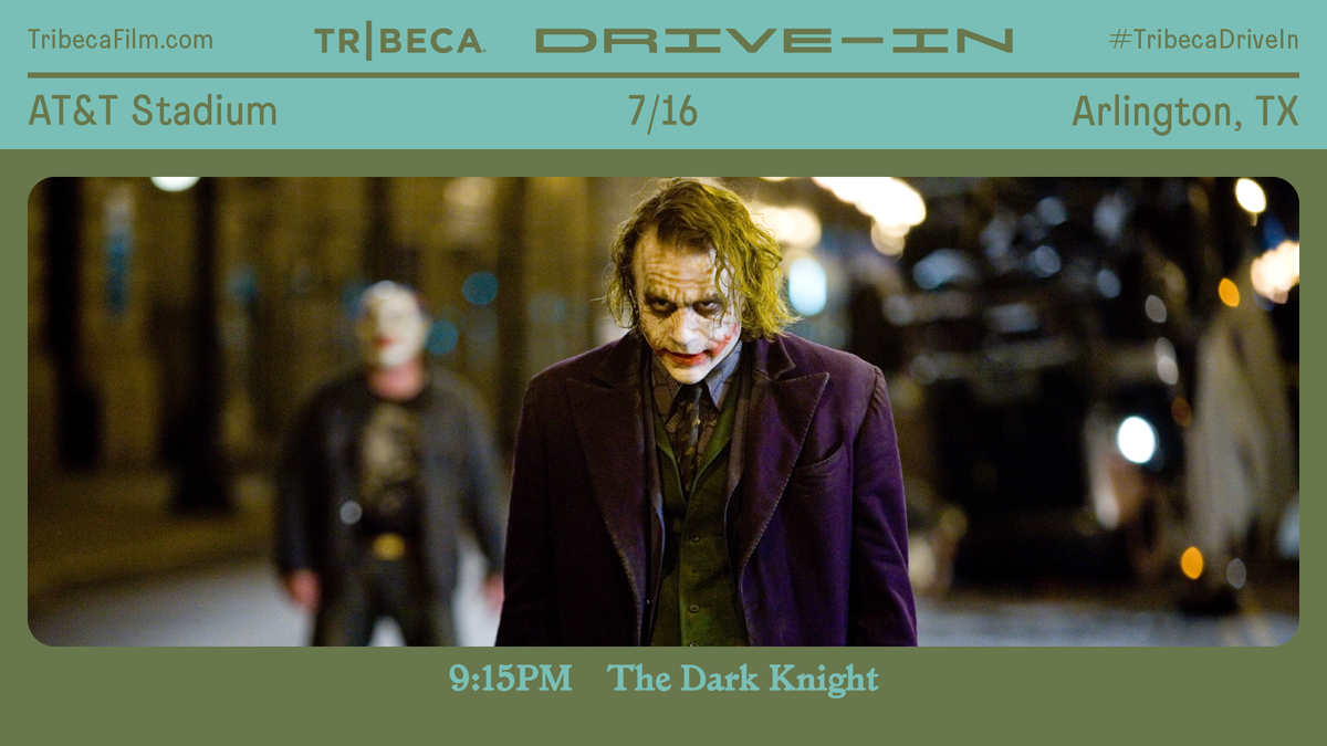 Weekend 3️⃣ of the @Tribeca Drive-In kicks off TONIGHT through Sunday starting with The Dark Knight. Enjoy 30+ iconic summer blockbusters, every weekend in July, outside #ATTStadium. Tickets are limited — get yours at TribecaFilm.com #TribecaDriveIn