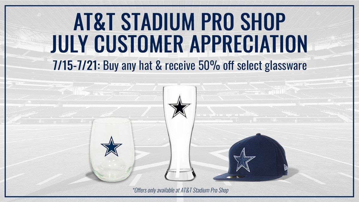CowboysNation, NOW through July 21st 🗣 Buy any @DallasCowboys hat & receive 50% off select glassware at our #ATTStadium Pro Shop!
