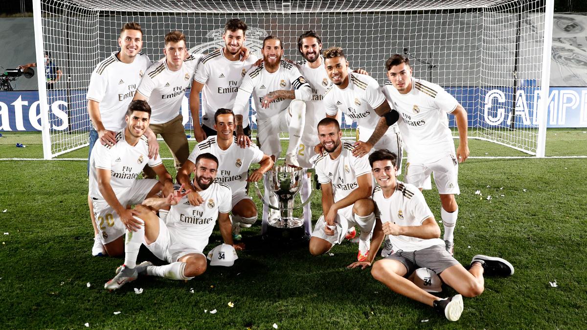 Kegembiraan pemain Real Madrid jadi juara La Liga 2019-2020.